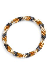 Women's Aid Through Trade Roll On Beaded Stretch Bracelet Black Yellow White Zig Zag
