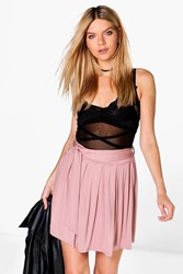 Boohoo Tie Waist Pleated Jersey Skater Skirt Rose