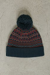 Forever 21 Men Fair Isle Pom Pom Beanie Teal Orange