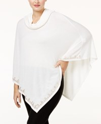 Belldini Plus Size Embellished Cowl Neck Poncho Ivory Gold