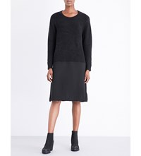 Izzue Contrast Skirt Knitted And Crepe Dress Black