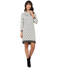 Hatley Cowel Neck Sweater Dress Chevron Stripe Women's Dress Black