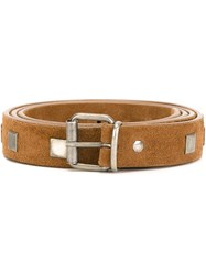 Massimo Alba Studded Belt Brown