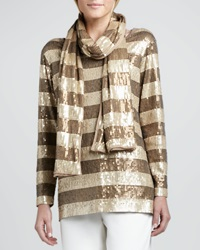 Joan Vass Striped Sequined Scarf