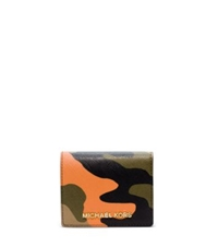 Michael Kors Jet Set Travel Camouflage Saffiano Leather Wallet Poppy