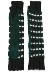 Marni Fingerless Knit Gloves Green