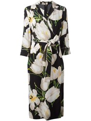 Dolce And Gabbana Tulip Print Wrap Dress Black