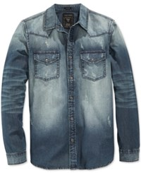 Guess Men's Slim Fit Western Long Sleeve Storied Wash Denim Shirt