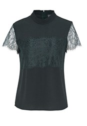 Hallhuber Boxy Top With Lace Dark Green