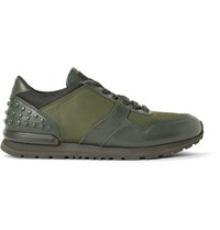 Tod's Leather Canvas And Mesh Sneakers Army Green