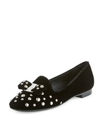Salvatore Ferragamo Scotty Studded Velvet Smoking Slipper Black