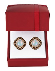 Levian Chocolatier Vanilla Diamonds Chocolate Diamonds Neopolitan Opal And 14K Rose Gold Earrings