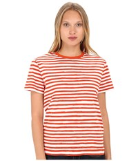Marc By Marc Jacobs Sketch Stripe Tee Brick Orange Multi Women's T Shirt