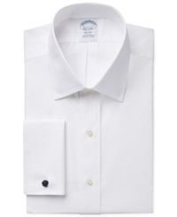 Brooks Brothers Slim Fit Non Iron Solid French Cuff Dress Shirt White