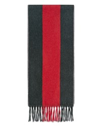 Gucci Wool Web Scarf Graphite Red