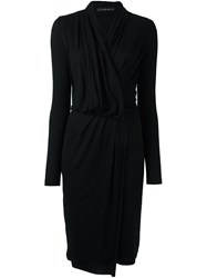 Plein Sud Jeans Long Sleeve Wrap Dress Black
