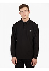 Stone Island Black Cotton Pique Long Sleeved Polo Shirt