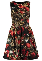 Closet Rose And Chain Cocktail Dress Party Dress Black Gold Red