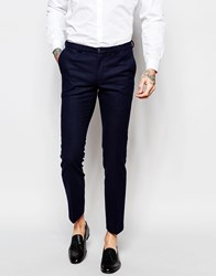 Noak Suit Trousers With Lux Tonal Print In Super Skinny Fit Blue