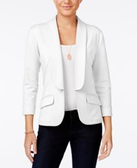 Say What Juniors' Shawl Collar Knit Blazer White