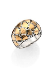 John Hardy Naga 18K Yellow Gold And Sterling Silver Dome Ring Gold Silver