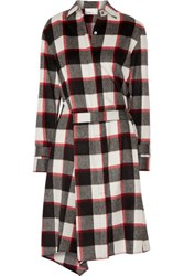 3.1 Phillip Lim Asymmetric Checked Wool And Angora Blend Dress Red