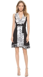 Diane Von Furstenberg Kylie Wrap Dress Toile Meadow White Black
