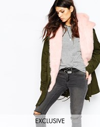 Faux London Parka Coat With Faux Fur Lining Khakipink