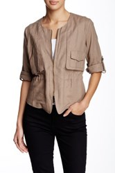 Lavand. Front Pocket Linen Blend Jacket Brown