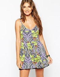 Asos Mirror Tropical Print Pom Pom Beach Playsuit Tropicalprint