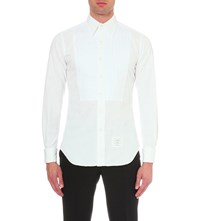 Thom Browne Pintuck Slim Fit Distressed Cotton Shirt White
