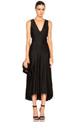 Victoria Beckham Stain Sable Draped V Neck Dress In Black