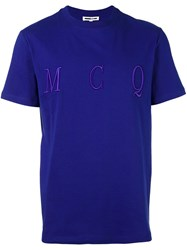 Mcq By Alexander Mcqueen Embroidered Logo T Shirt Blue