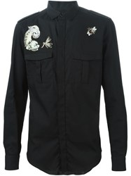 Valentino Animal Embroidered Shirt Black