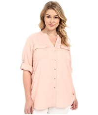 Calvin Klein Plus Plus Size Crew Neck Roll Sleeve Blush Women's Blouse Pink