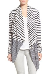 Women's Velvet By Graham And Spencer Mixed Stripe Jersey Cardigan Soy Cream