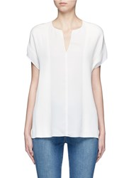 Vince V Neck Silk Georgette Pintuck Blouse White