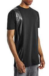 Men's Topman Faux Leather Stripe Longline T Shirt