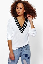Boohoo V Neck Sports Rib Jumper White