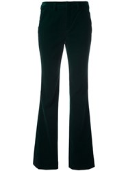 Sonia Rykiel By Velvet Effect Flared Trousers Green