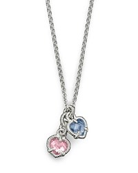 Judith Ripka Twin Heart Necklace In Pink And Blue Blue Pink