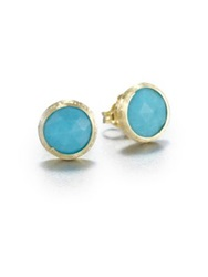 Marco Bicego Jaipur Resort Turquoise And 18K Yellow Gold Stud Earrings Gold Turquoise