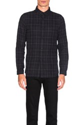 John Elliott Flannel Button Down In Gray Checkered And Plaid Gray Checkered And Plaid