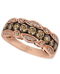 Le Vian Chocolate And White Diamond Band 1 1 8 Ct. T.W. In 14K Rose Gold