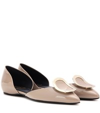 Roger Vivier New Chips Patent Leather D'orsay Ballerinas Beige