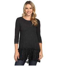 Dylan By True Grit Luxe Sparkle Slub 3 4 Sleeve Top W Victorian Lace Hem Soft Black Women's Clothing