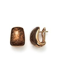 Roberto Coin 18K Rose Gold Martellato Drop Earrings With Smoky Quartz Brown Rose