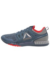 Reebok Zprint 3D Cushioned Running Shoes Slate Coal Grey Red Pewter Dark Blue