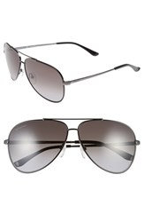 Men's Salvatore Ferragamo 60Mm Aviator Sunglasses Shiny Dark Gunmetal Black