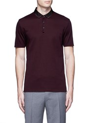 Lanvin Slim Fit Grosgrain Collar Polo Shirt Red